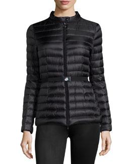 Damas Stripe-Quilted Belted Coat, Black