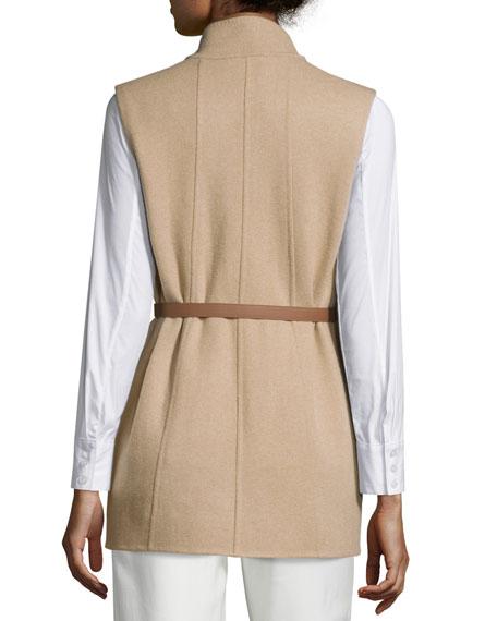 Brett Belted Leather-Trimmed Vest, Golden Shade