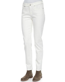 Hidalgo Denim Ankle Jeans, White