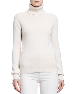 Cashmere Ribbed-Knit Turtleneck Sweater, Ivory