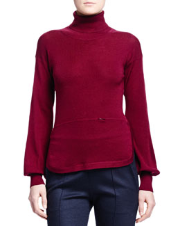 Cashmere-Blend Round-Hem Sweater, Burgundy