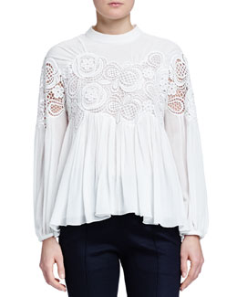 Floral-Embroidered Pleated Blouse