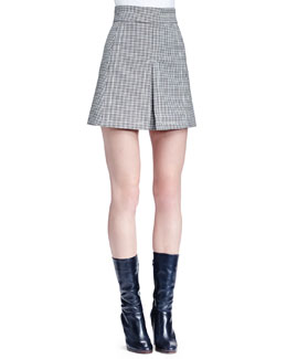 Houndstooth Split-Front Skirt, Black/White