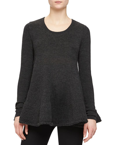 Ruffled A-Line Knit Top, Gray