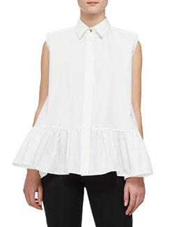 Sleeveless Peplum Button Blouse