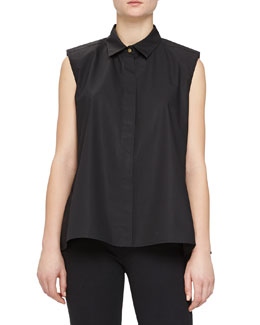 Sleeveless Peplum-Back Button Blouse