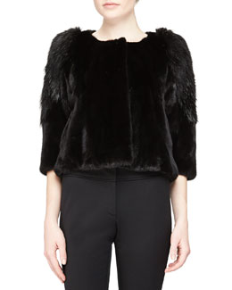Three-Quarter-Sleeve Fur Coat