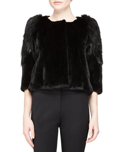 Three-Quarter-Sleeve Fur Coat