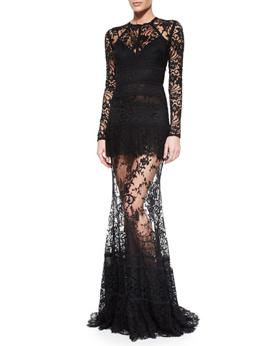 Paneled Sheer Lace Gown