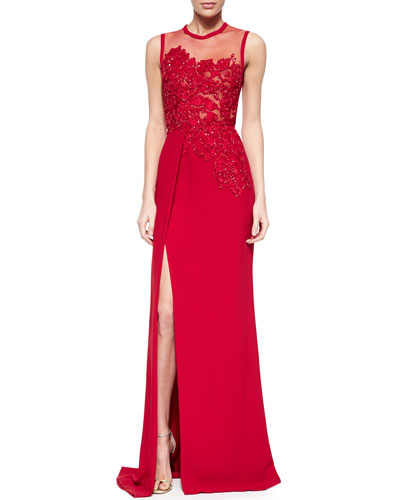 Floral-Beaded Slit Gown