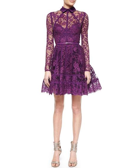 Elie Saab Paneled Lace Cocktail Dress