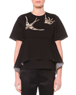 Swallow-Beaded Layered Peplum Top