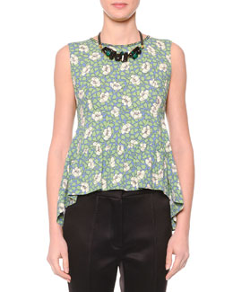 Flower Print Sleeveless Top