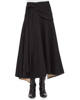 Double-Faced Tie-Waist Full Skirt