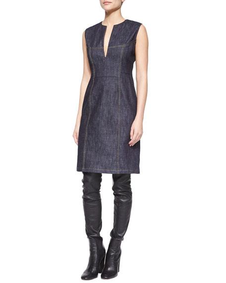 Denim Split-Neck Sheath Dress
