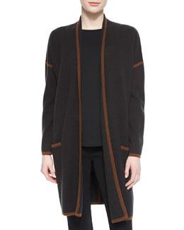Cashmere-Blend Contrast Trimmed Wrap Cardigan