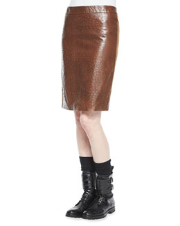 Ostrich-Stamped Combo Pencil Skirt, Dark Brown