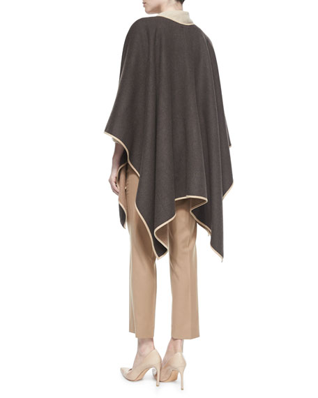Max Mara Two Tone Reversible Wool Cape Split Cowl Neck