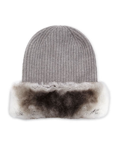 Fur-Trimmed Knit Beanie Hat