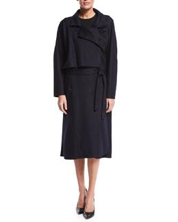 Oversized Double Cashmere Trenchcoat, Navy