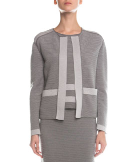 Contrast-Trimmed Ribbed Cardigan, Gray/Light Gray