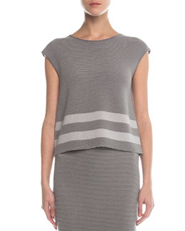 Ribbed Contrast Striped Top, Gray/Light Gray