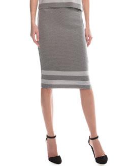 Ribbed Border Striped Pencil Skirt, Gray/Light Gray