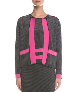 Contrast-Trimmed Ribbed Cardigan, Pink/Black