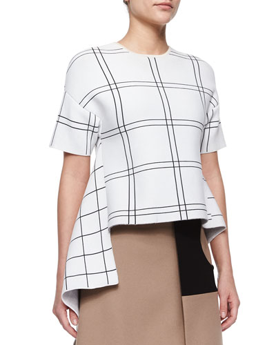 Cashmere-Blend Plaid Asymmetric High-Low Top