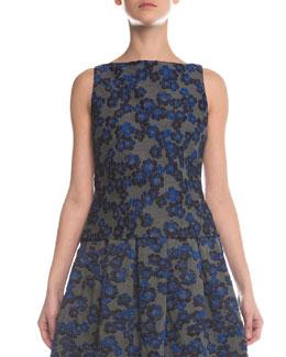 Floral-Jacquard Jersey Combo Top