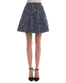 Box-Pleated Floral Jacquard Skirt