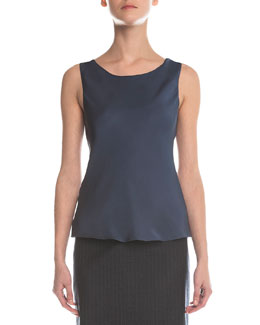 Scoop-Neck Pintucked Top, Petrol