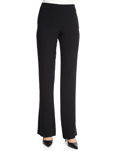 Silk Cady Flare-Leg Pants, Black