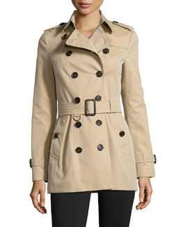 Sandringham Short Woven Trenchcoat, Honey