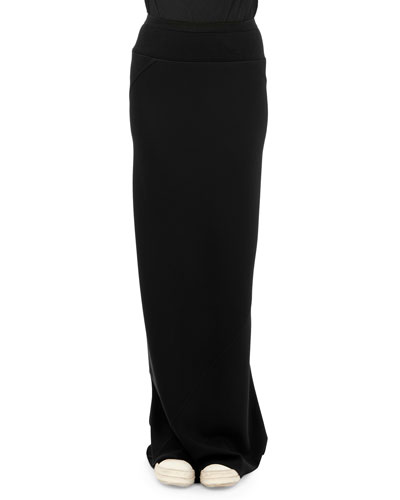 Banded Godet Pleated Column Skirt, Black