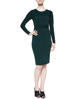 Long-Sleeve Two-Tone Ponte Sheath Dress