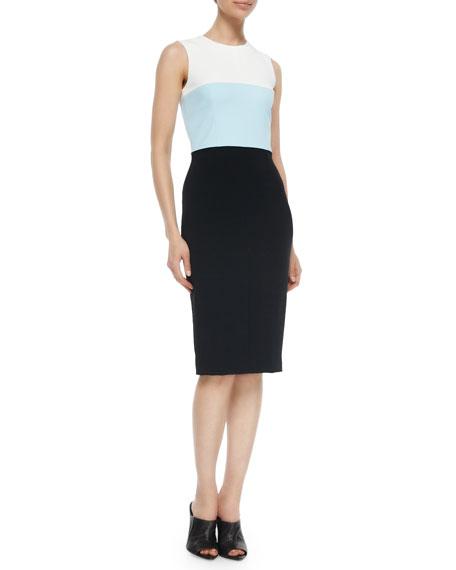 Sleeveless Colorblock Sheath Dress, Black/Blue