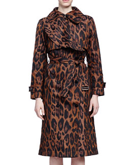 Leopard-Print Taffeta Trench Coat, Camel