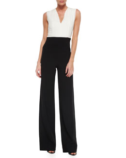 Colorblock V-Neck Wide-Leg Jumpsuit