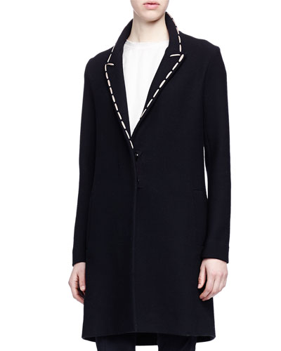 Whipstitched Woven Coat, Black