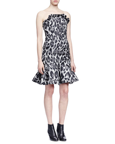 Strapless Leopard-Print Jacquard Flounce Dress