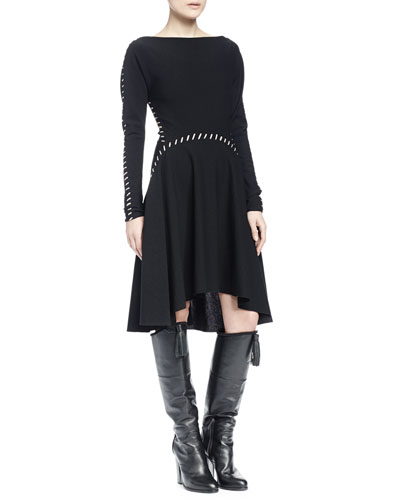 Long-Sleeve Whipstitched A-Line Dress