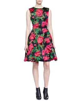 Floral Brocade Fit-And-Flare Party Dress