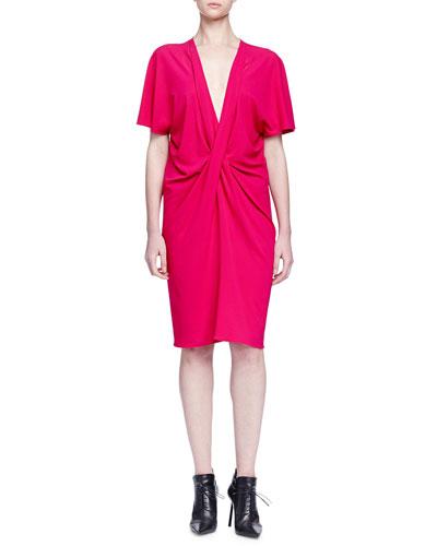 Flutter-Sleeve Draped Dress