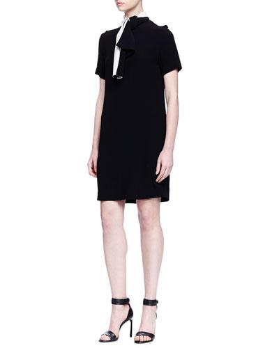 Short-Sleeve Contrast Bow Dress