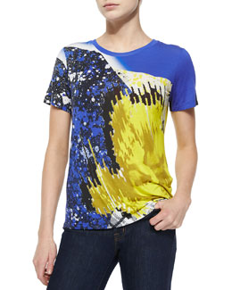 Abstract-Print Jersey Tee, Yellow/Blue