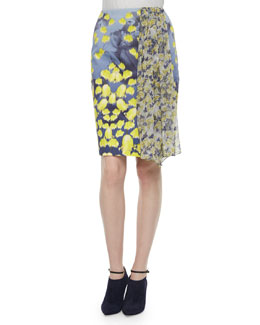 Floral-Print Ruffle-Inset Pencil Skirt