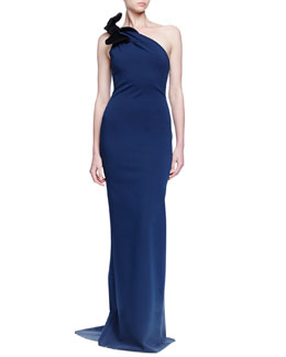 One-Shoulder Bow-Detailed Column Gown