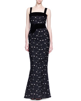 Floral Fil Coupe Contrast Gown
