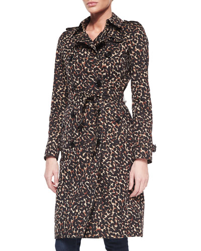 Leopard-Print Mid-Length Trenchcoat